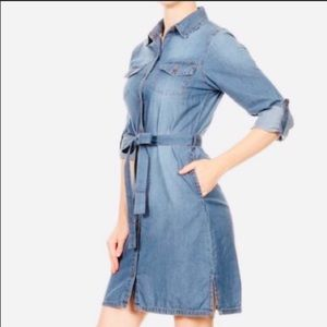 Blue age denim dress belted sz small nwot